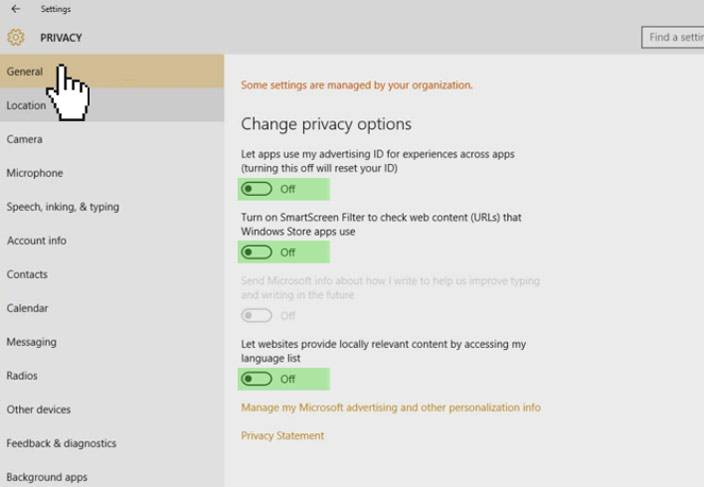 windows 10 settings privacy general