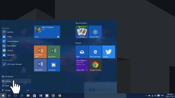windows 10 start menu settings