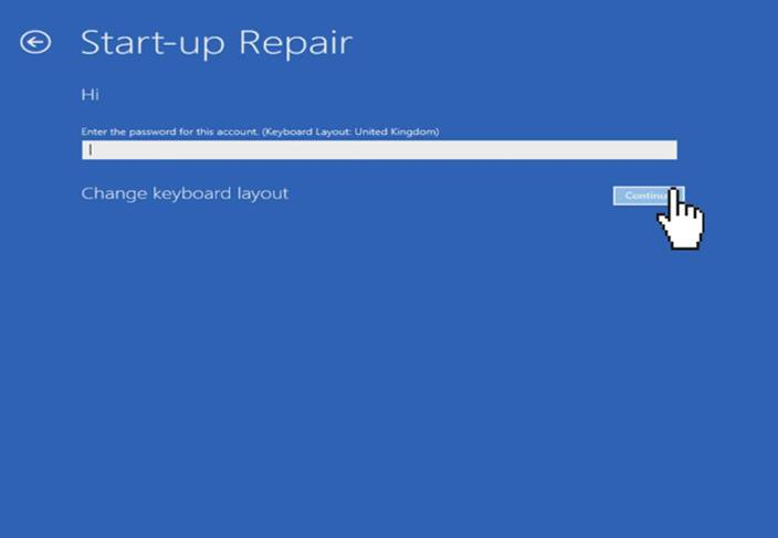 windows 10 startup repair account