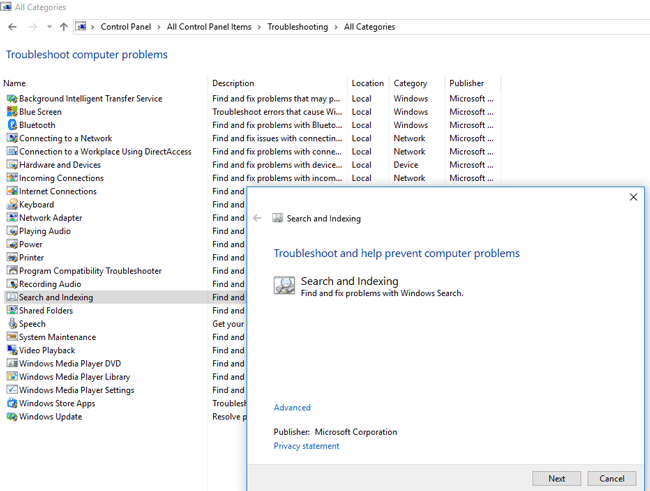 Fix Windows 8 1 and 10 search protocol and indexer high CPU