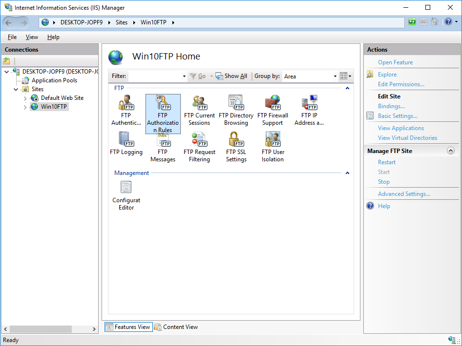 configure ftp server on windows 10 pc