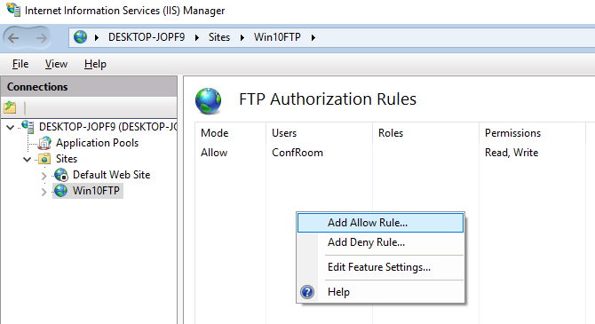 how to configure ftp server on windows 10 computer