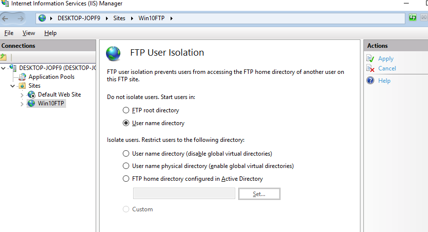 setting up ftp server on windows