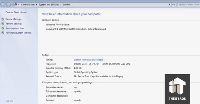 basic info computer windows 7