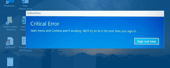 critical error start menu windows
