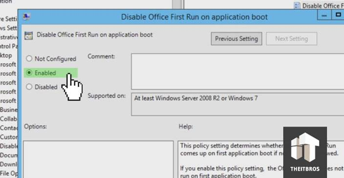 office 2013 enable first run