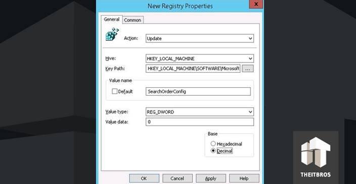 registry properties
