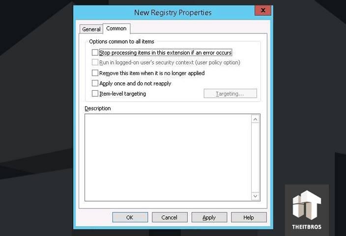 registry properties common