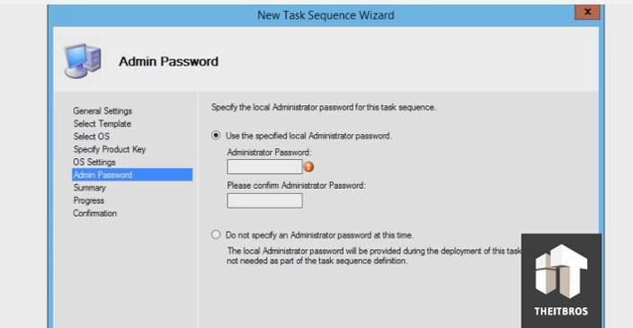 task sequence admin password