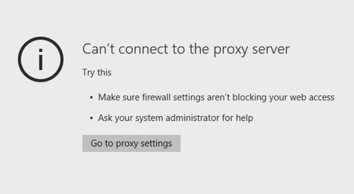 cant connect to proxy server