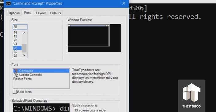 command promt font