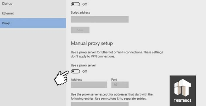 manual proxy server Can't connect to the proxy server