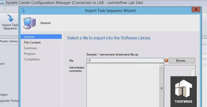 select file import sccm