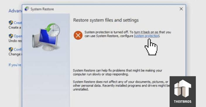 system restore settings