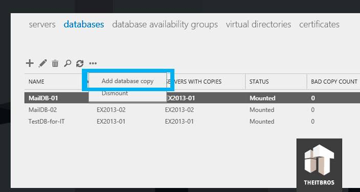 add database copy