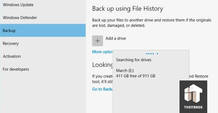 backup add drive windows 10