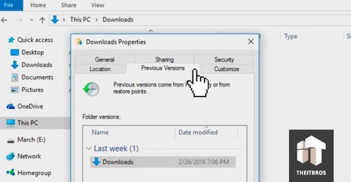 backup previous versions windows 10