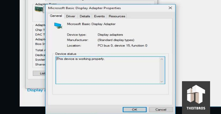 display adapters properties