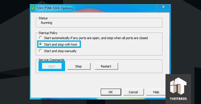 ssh options ESXi