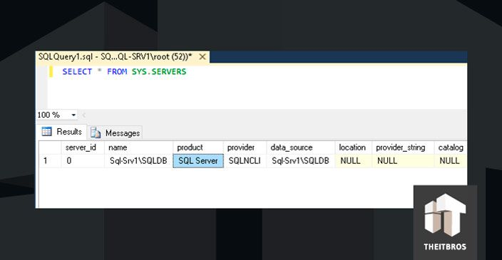 SQL query sysservers