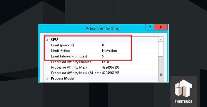 advanced settings CPU IIS 8
