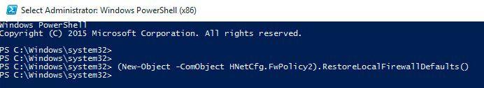 Reset Firewall Settings powershell