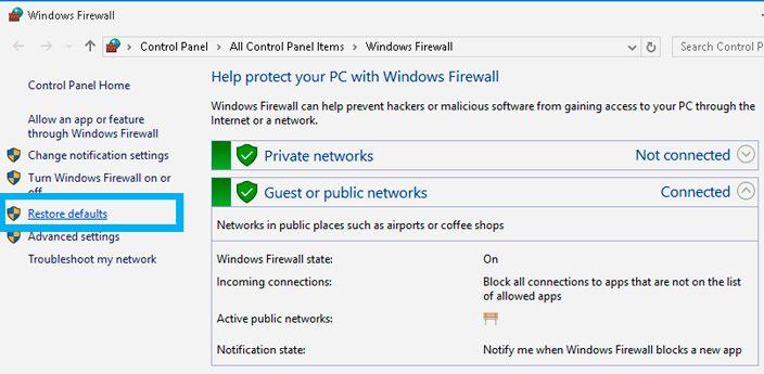 restore windows 10 firewall