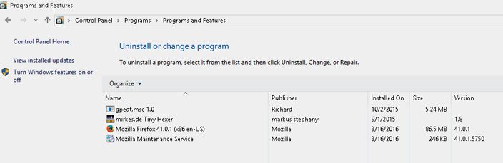 windows 10 program list