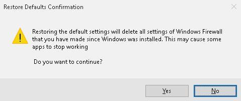reset windows 10 firewall restore defaults