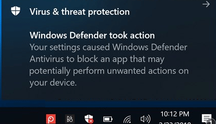 windows defender took action