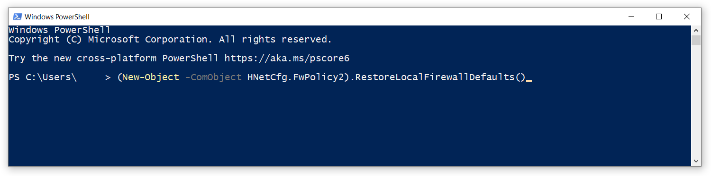 reset windows firewall powershell