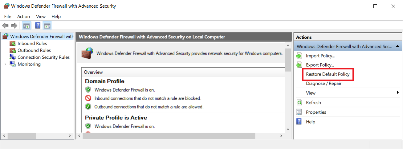 reset windows 10 firewall rules to default