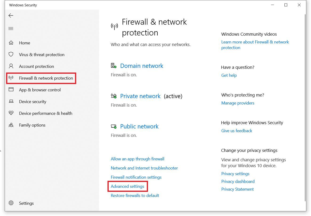 netsh advfirewall reset windows 10