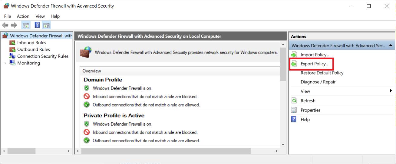 reset windows firewall to default command line