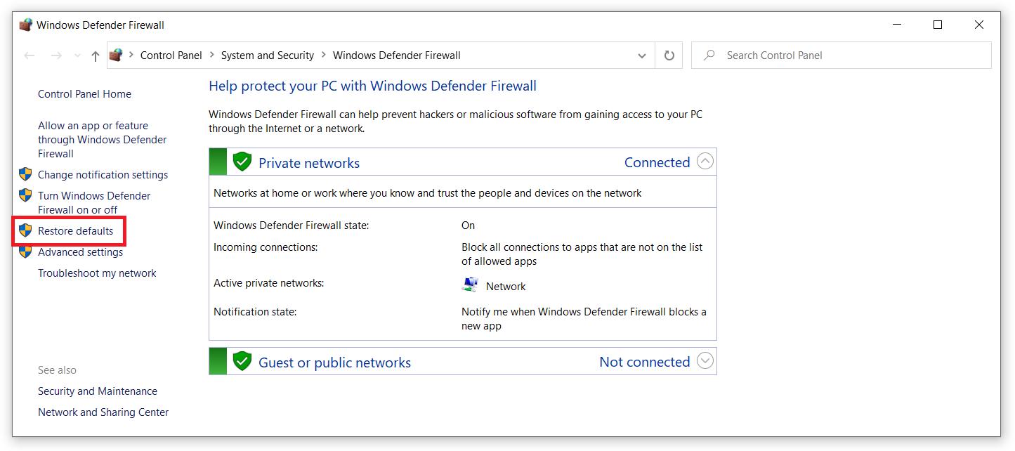 windows 10 reset firewall rules