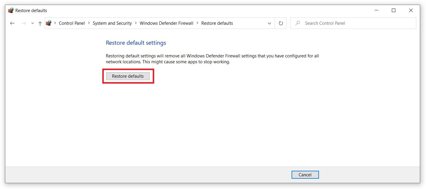 reset windows 10 firewall