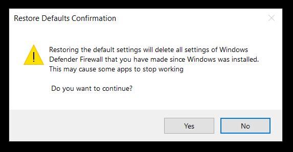 windows 10 reset firewall