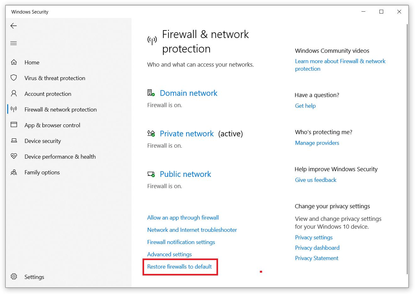 windows 10 firewall reset