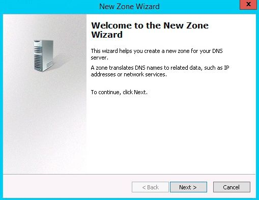 new zone wizard dns