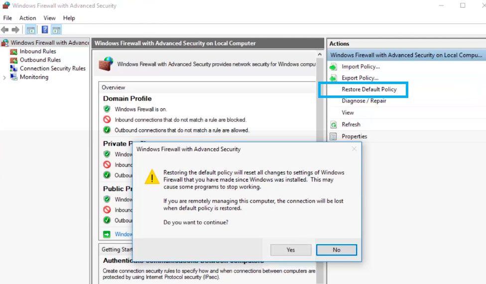 restore default firewall settings