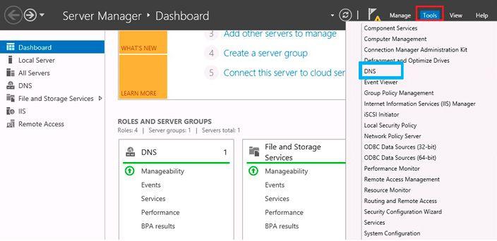 server manager DNS