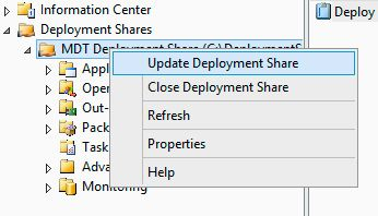 update deployment share mdt
