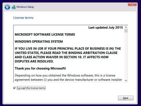 windows install terms