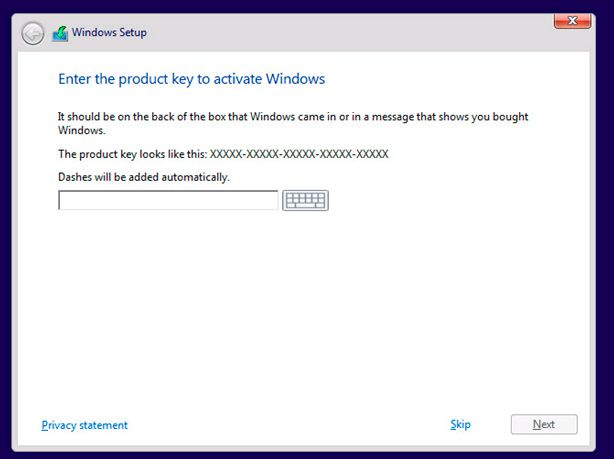 windows setup key