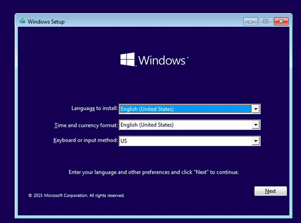 windows setup vm