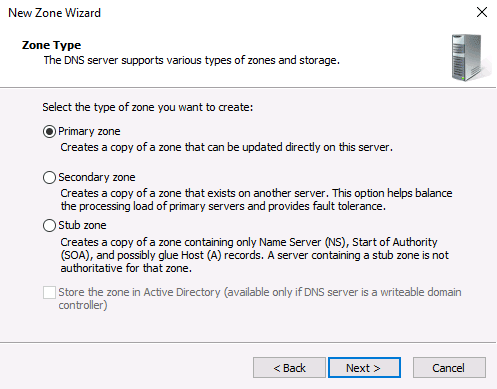 configuring DNS Server on Windows Server machine zone