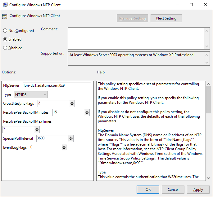 sync time with domain controller group policy