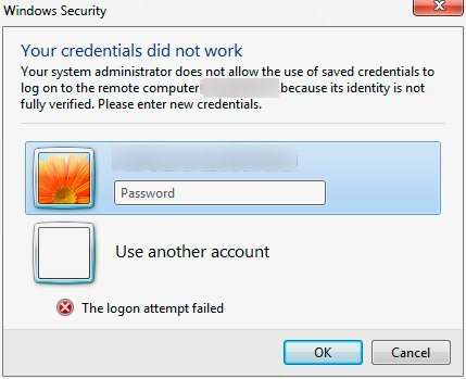 your system administrator does not allow the use of saved credentials