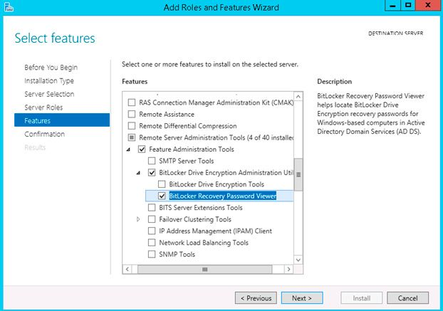 save bitlocker key in active directory