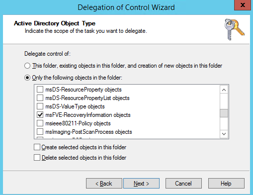 active directory bitlocker key